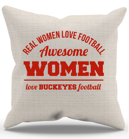 Awesome Buckeyes Woman Pillow Case, Pillow Case, Trexify, FamilyTrophy.com - FamilyTrophy.com