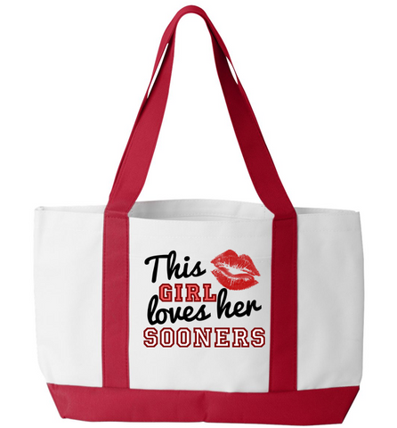 This Girl Loves Her Sooners Tote Bag, Tote Bag, Trexify, FamilyTrophy.com - FamilyTrophy.com