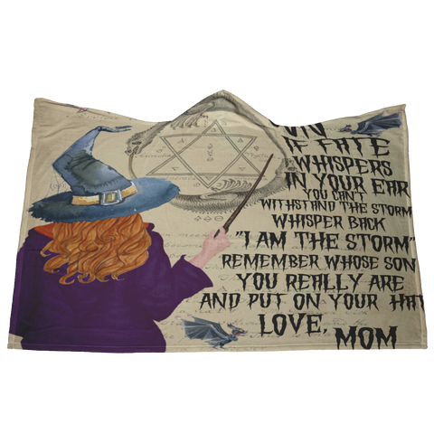 Hooded Blanket Son Mom Witch Fate Halloween Gift - Fleece Hoodie Blanket Fall, To My Son Halloween Hooded Blanket, Witch Fate Hoody Blanket