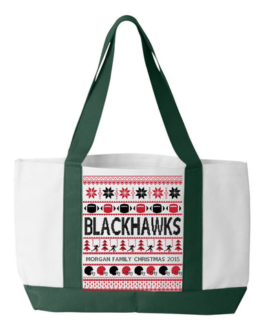 Football Blackhawks Family Name Personalized Christmas 2015 Tote Bag, Tote Bag, Trexify, FamilyTrophy.com - FamilyTrophy.com