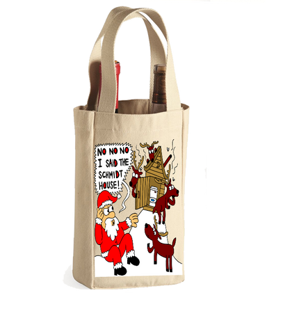No No No I Said The Schmitt House Funny Ugly Christmas Winebag With Name Customization - Great Christmas Gift For Wine Lovers With Humor, Wine Bag, Family Trophy, FamilyTrophy.com - FamilyTrophy.com