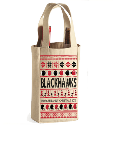 Football Blackhawks Family Name Personalized Christmas 2015 Wine Bag, Wine Bag, Trexify, FamilyTrophy.com - FamilyTrophy.com