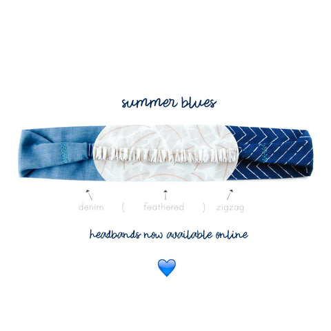 Starling & Ivy Summer Blues Scrunch Headband Collection