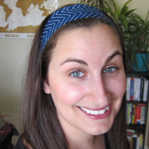 Co-Founder Alana in Navy ZigZag Headband