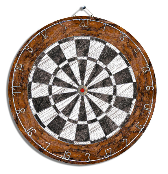 Black, White and Brown Dart Board