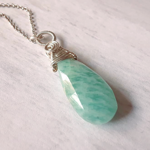 Russian Amazonite Wire Woven Pendant