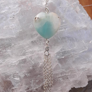 Amazonite Heart Tassel Necklace