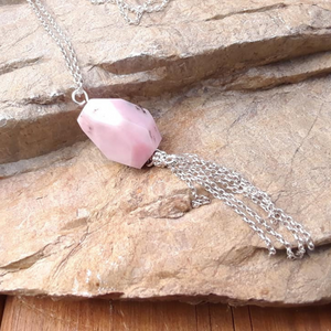 Pink Opal Tassel Necklace