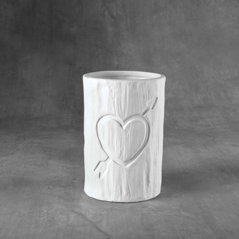 Duncan - 37095 Bisque Tree Carved Heart Vessel - Sounding Stone