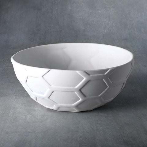 37477 Bisque Medium Honeycomb Bowl