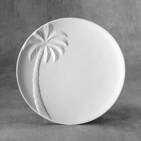 37482 Bisque Palm Tree Plate