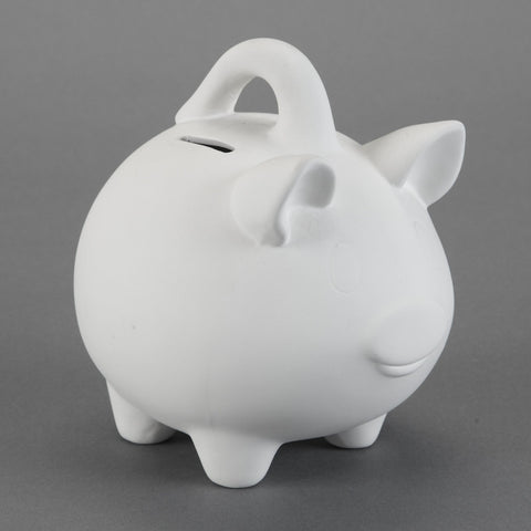 Duncan - 21443 Bisque Medium Piggy Bank with Handle - Sounding Stone