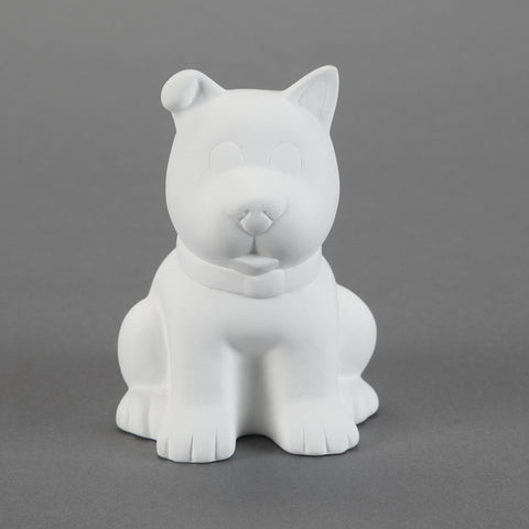 Duncan - 21444 Bisque Sitting Puppy Bank - Sounding Stone
