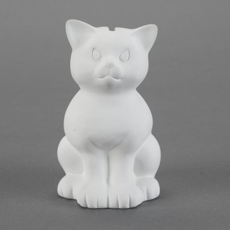Duncan - 21445 Bisque Sitting Kitty Bank - Sounding Stone