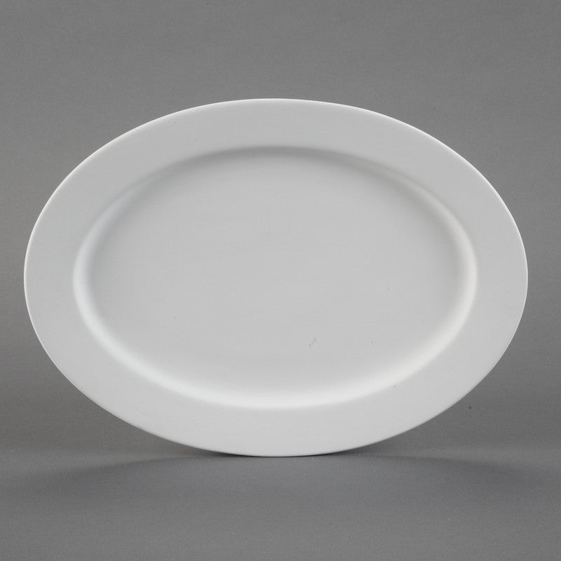 Duncan - 28574 Bisque Rimmed Oval Platter - Sounding Stone