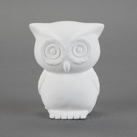 Duncan - 31807 Bisque Retro Owl Bank - Sounding Stone