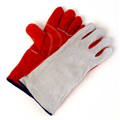 Premium Split Leather Red/Grey Gloves, pair