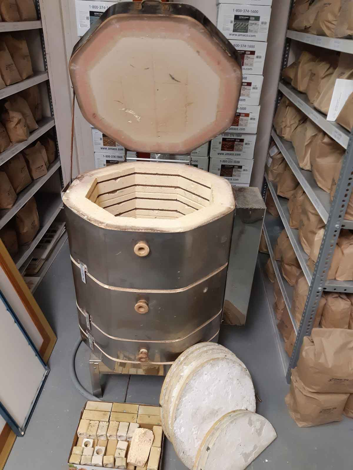 Used Olympic Electric Kiln, Model 1823WH, 240 volt and Orton Venting System