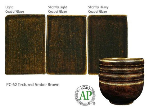 Amaco - Amaco Potter's Choice PC-62 Textured Amber Brown Glaze - Sounding Stone