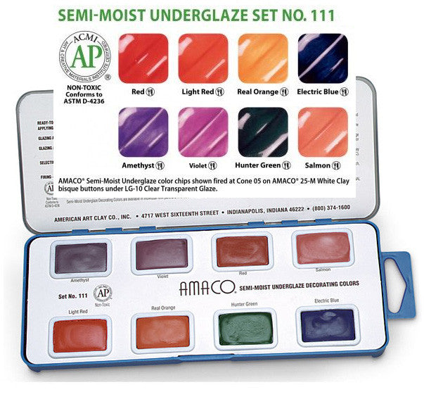 Amaco Set  111 Semi Moist Watercolor Underglazes