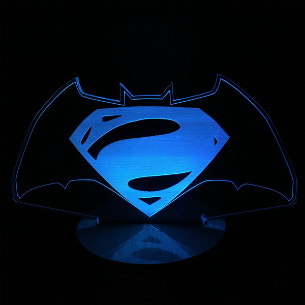 Batman vs Superman Light Color Changing 3D Lamp