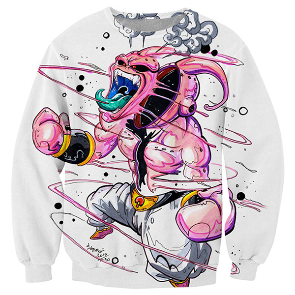 Kid Buu White 3D Printed Shirts