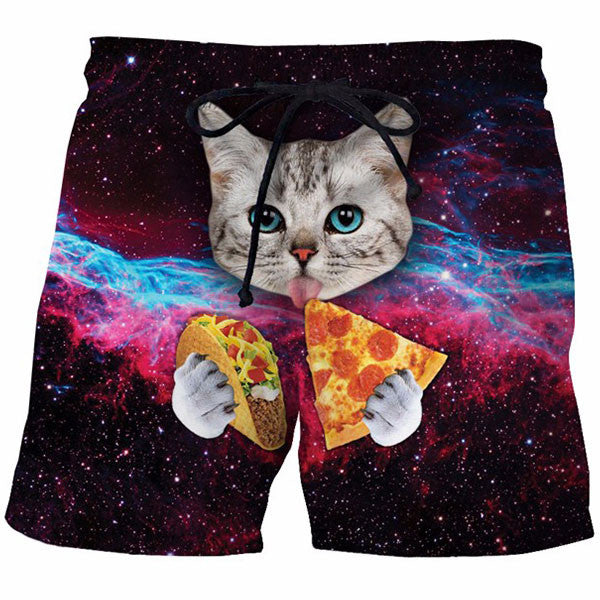 Galaxy Pizza Cat 3D Printed Shorts