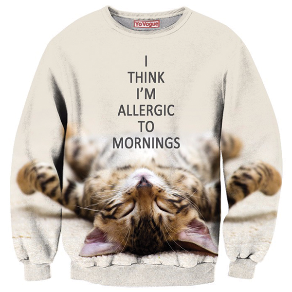 Cat Morning 3D Printed Shirts