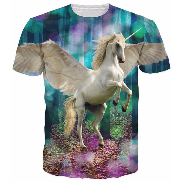 Unicorn The Forest With Purple Blue Green Shirts