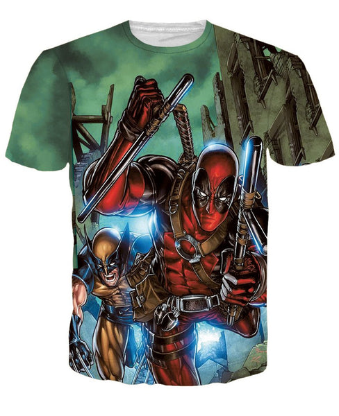 Deadpool Anime 3D Printed Shirts