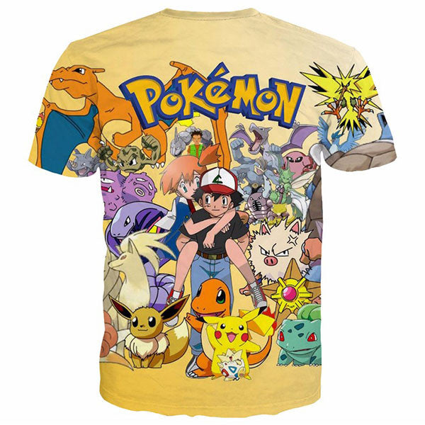 Cute Pikachu Charmander Togepi Printed Shirts