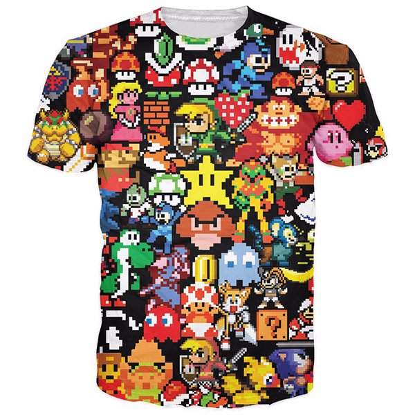 Pikachu Kirby Mario Chocobo Arcade Collage Shirts