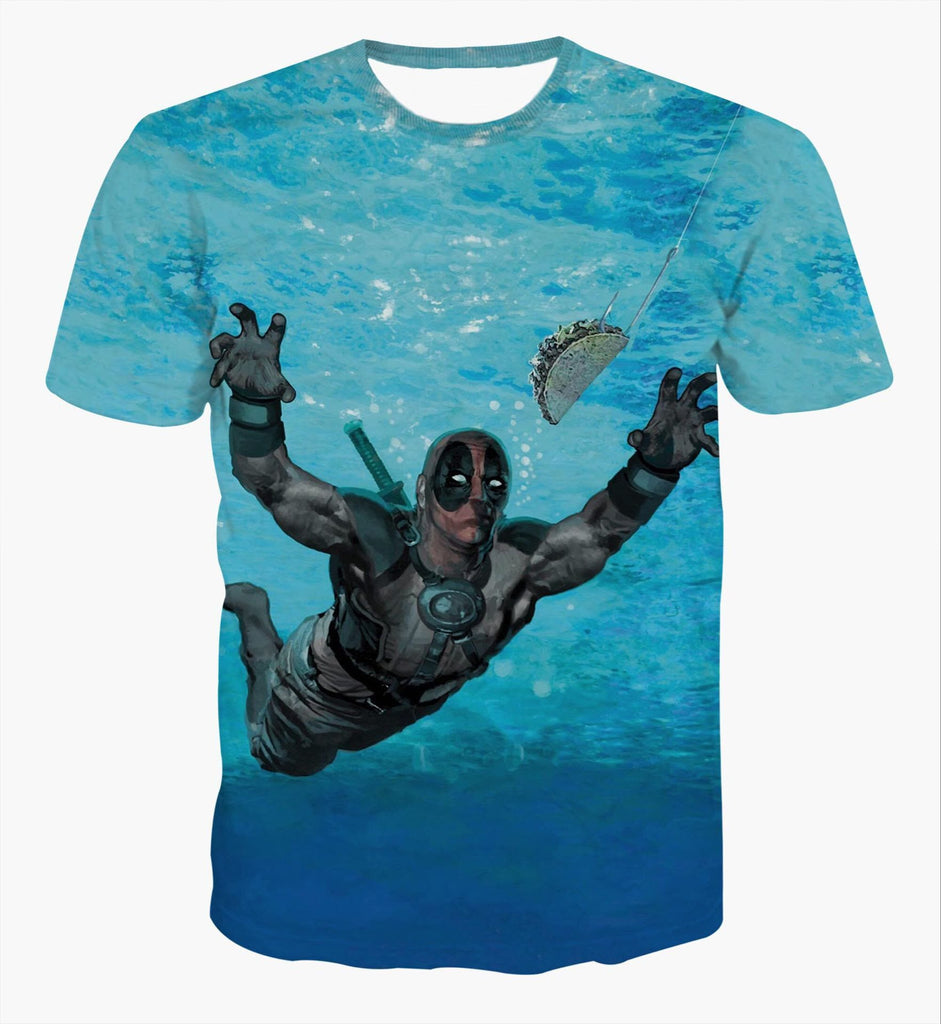 Deadpool Swimming 3D Printed Shirts