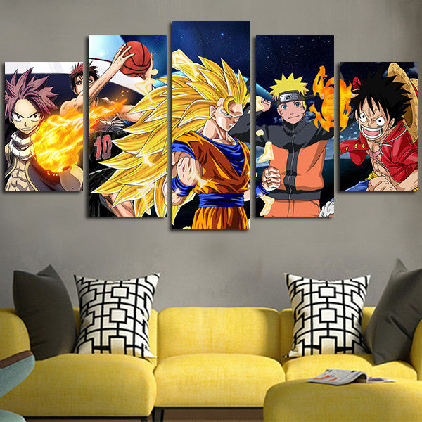 Goku Naruto Luffy Wall Art Canvas