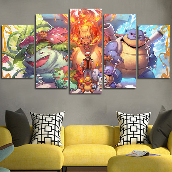 Pokemon Venusaur Charizard Blastoise Wall Art Canvas