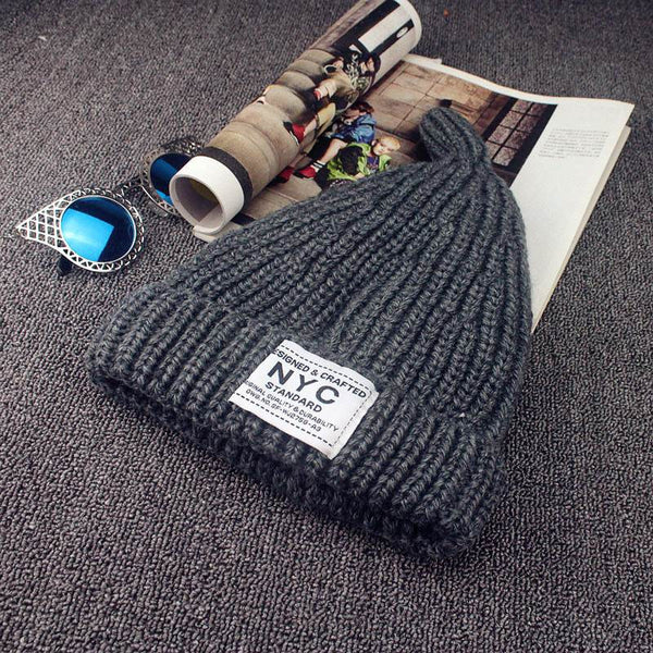 Pure Color Warm Knit Female Hat
