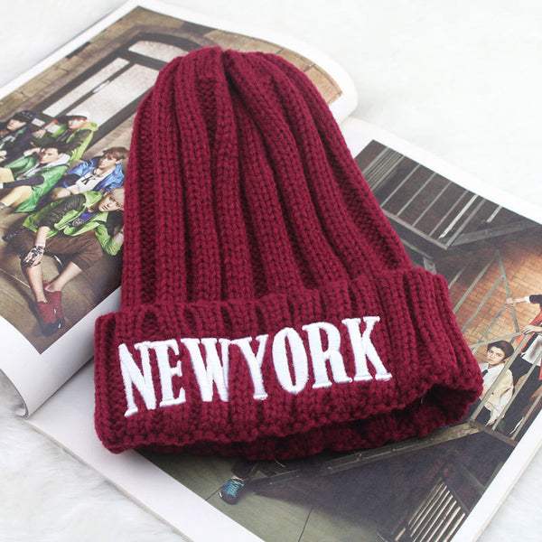 Style New York Letter Knit Hat