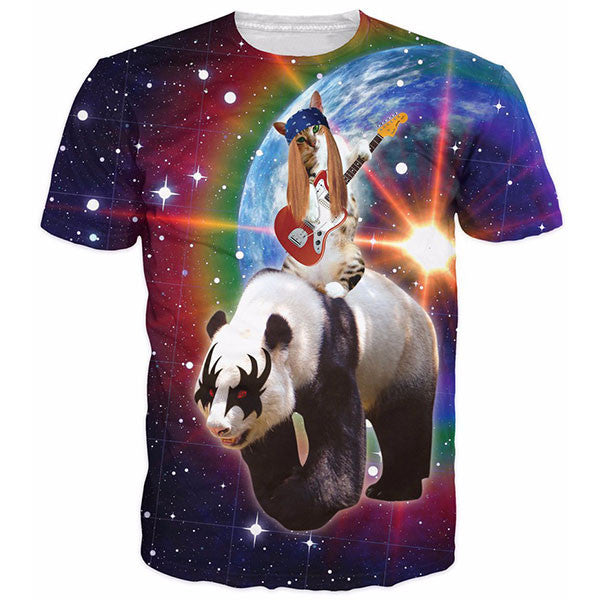 Rock N Roll Panda And Cat Galaxy Shirts