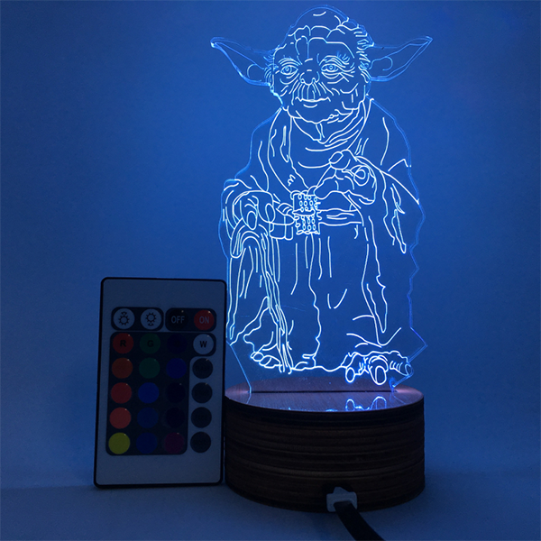 Jedi Master Color Changing Light 3D Lamp
