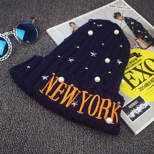 NEW YORK Letter Woolen Winter Hat