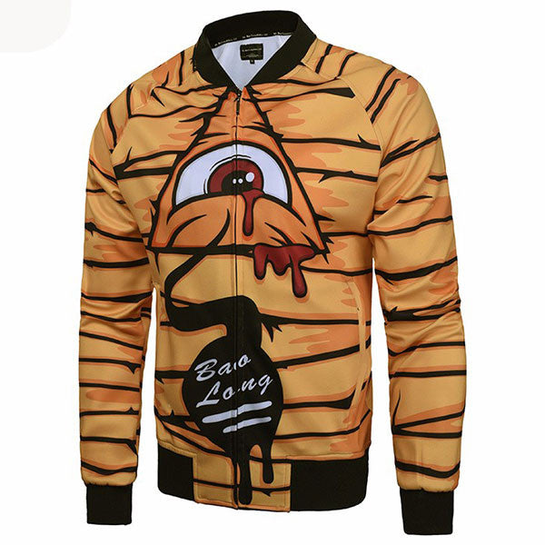 Funny Monster Eyes Print Zipper Jacket Shirts
