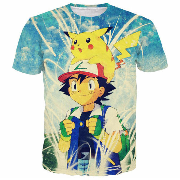 Ash Ketchum And Pikachu Prints Shirts