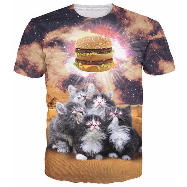 5 Cats With A Burger Shirts
