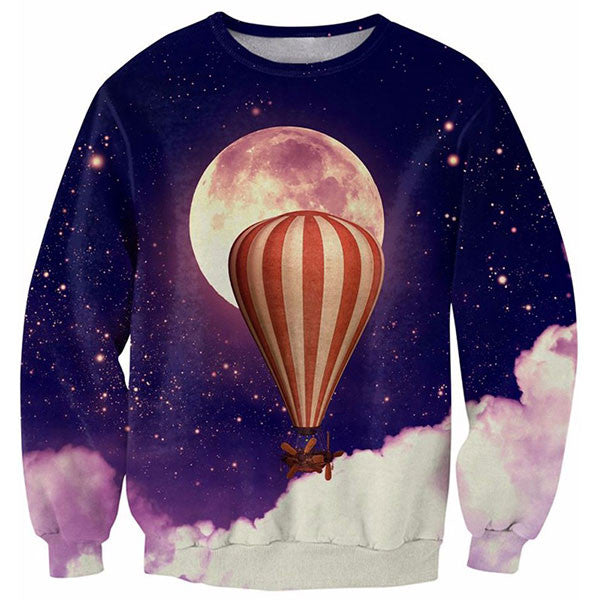 Moon And Hot Air Balloon 3D Shirts