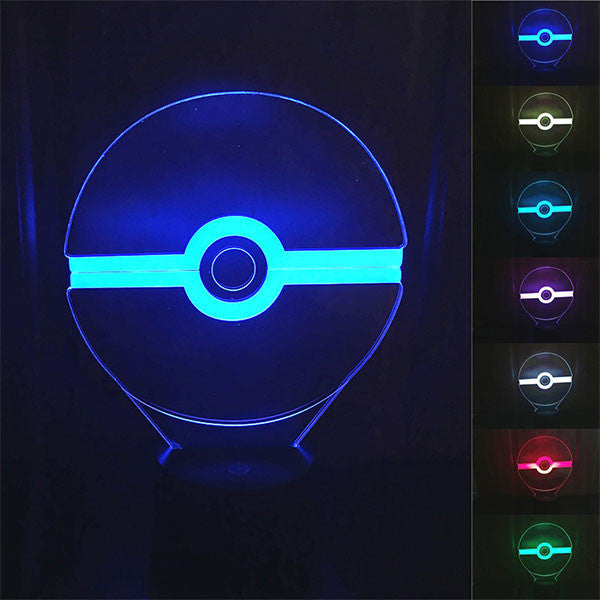Pokeball 3D LED 7 Colors Lamp