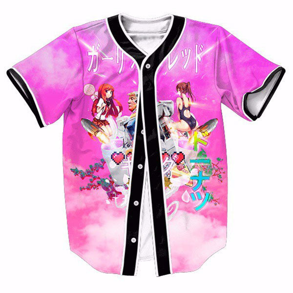 Anime Pink Printed New Shirts