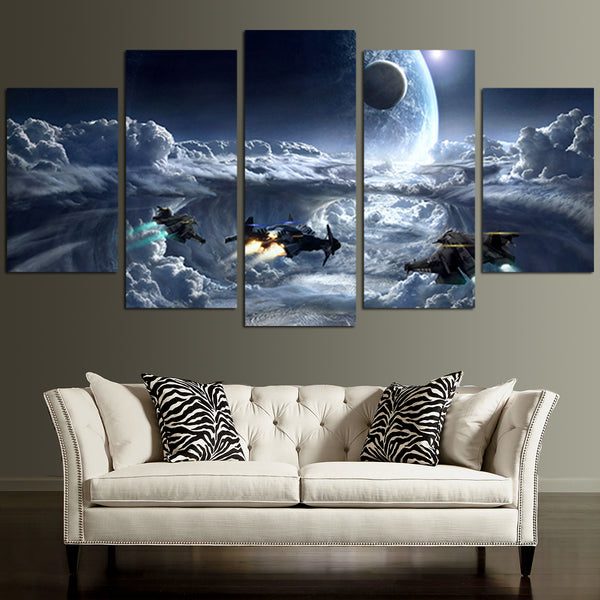 Space Wall Art] Amazoncom 5 Panel Wall Art Star Field In Space And ..