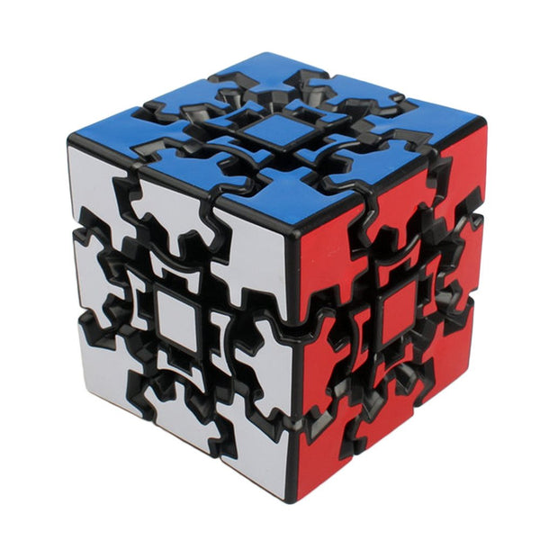 A puzzle shaped as a cube with pieces that are shaped as gears
