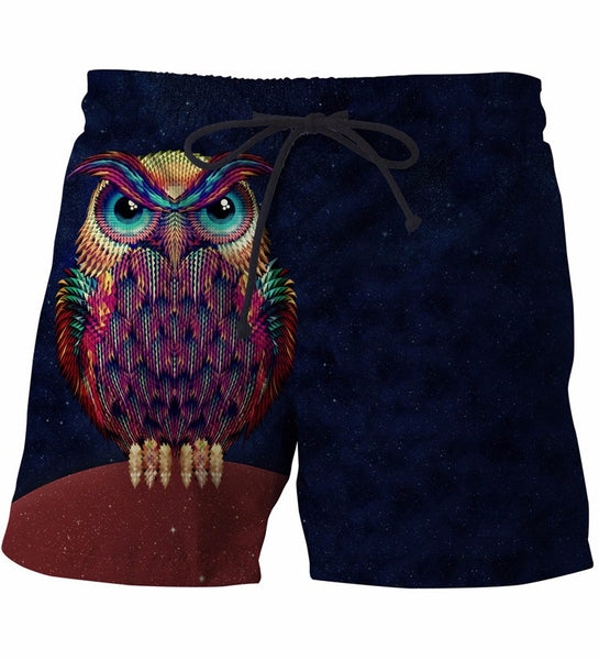 Owl Colorful 3D Shorts
