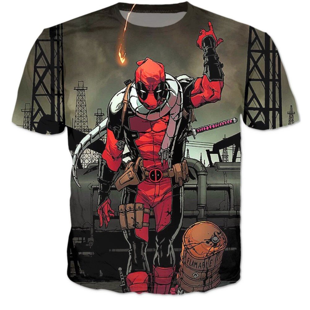 Deadpool Fire 3D Shirts